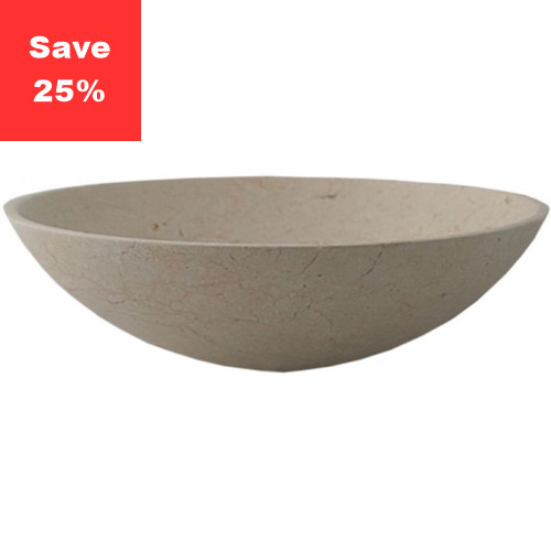 Pure Stone Sit-on Round Basin - Matt Beige