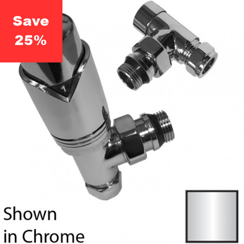 Garnet Angled Radiator Valve Pack - Chrome