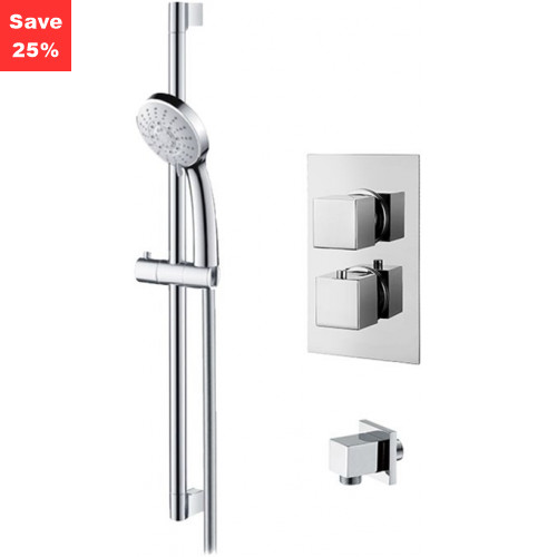 Origins - Onyx Thermostatic Square Shower & Riser Rail Kit