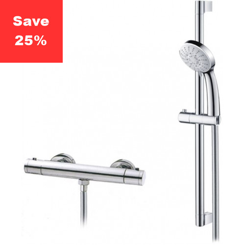 Onyx Exposed Thermostatic Bar Shower & Riser Rail