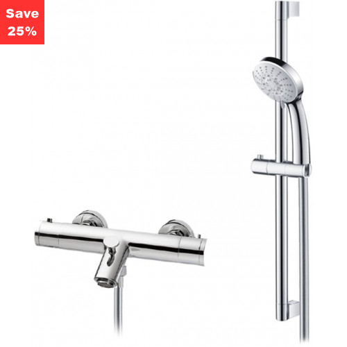 Origins - Onyx Exposed Bath Shower Mixer & Riser Rail