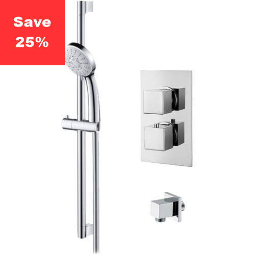 Onyx Thermostatic Square Shower & Riser Rail Kit