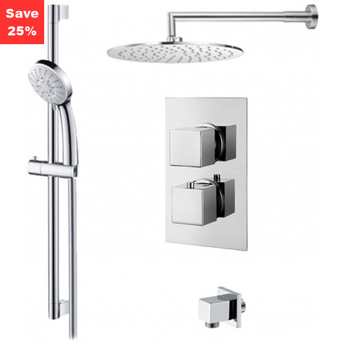 Origins - Onyx Thermo Square - Round Overhead & Round Hand Shower