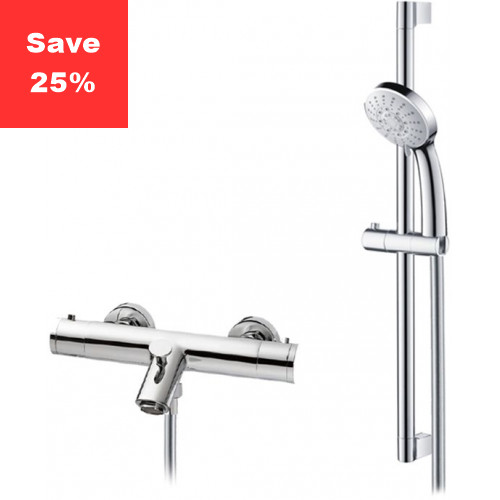 Onyx Exposed Bath Shower Mixer & Riser Rail
