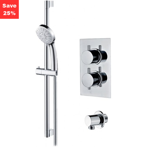 Origins - Onyx Thermostatic Round Shower & Riser Rail Kit