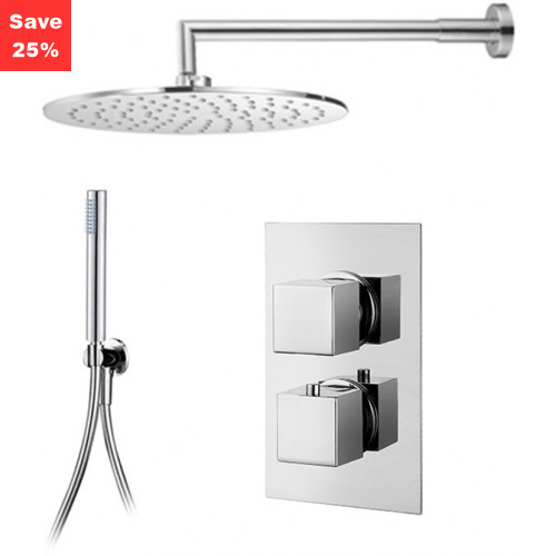 Origins - Onyx Thermo Square - Round Overhead & Slim Hand Shower