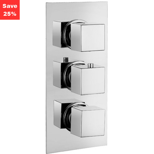 Origins - Onyx Square Thermo Shower Mixer (3 Outlet)