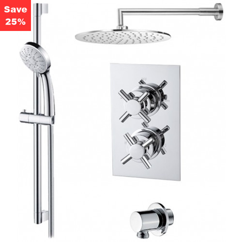 Onyx Thermo Cross - Round Overhead & Round Hand Shower
