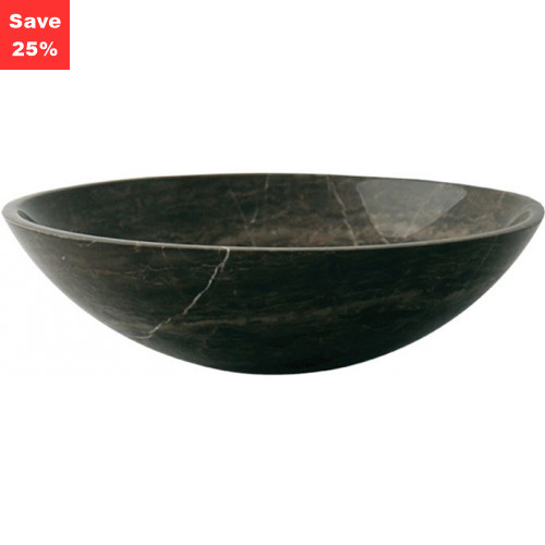 Pure Stone Sit-on Round Basin - Dark Marble