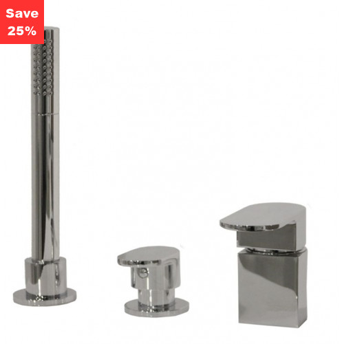 Spinel Deck Mounted Bath Shower Mixer Tap - 3 Taphole