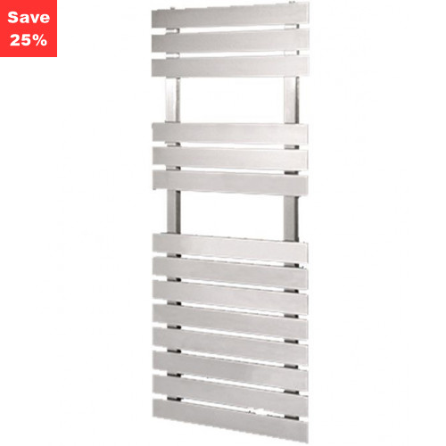 Amethyst S Towel Radiator - Brushed Steel - 1200 x 500mm